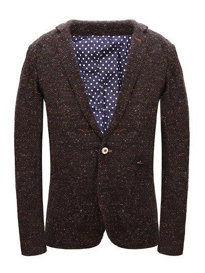 One Button Knit Blends Polka Dot Lining Lapel Long Sleeve Men's Blazer - LIGHT BROWN 2XL
