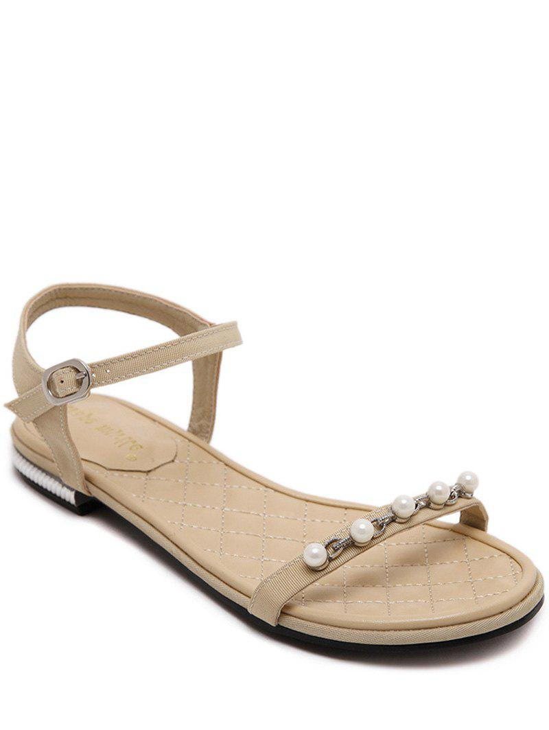 Concise Flat Heel and Beading Design Women's Sandals - LIGHT KHAKI 37