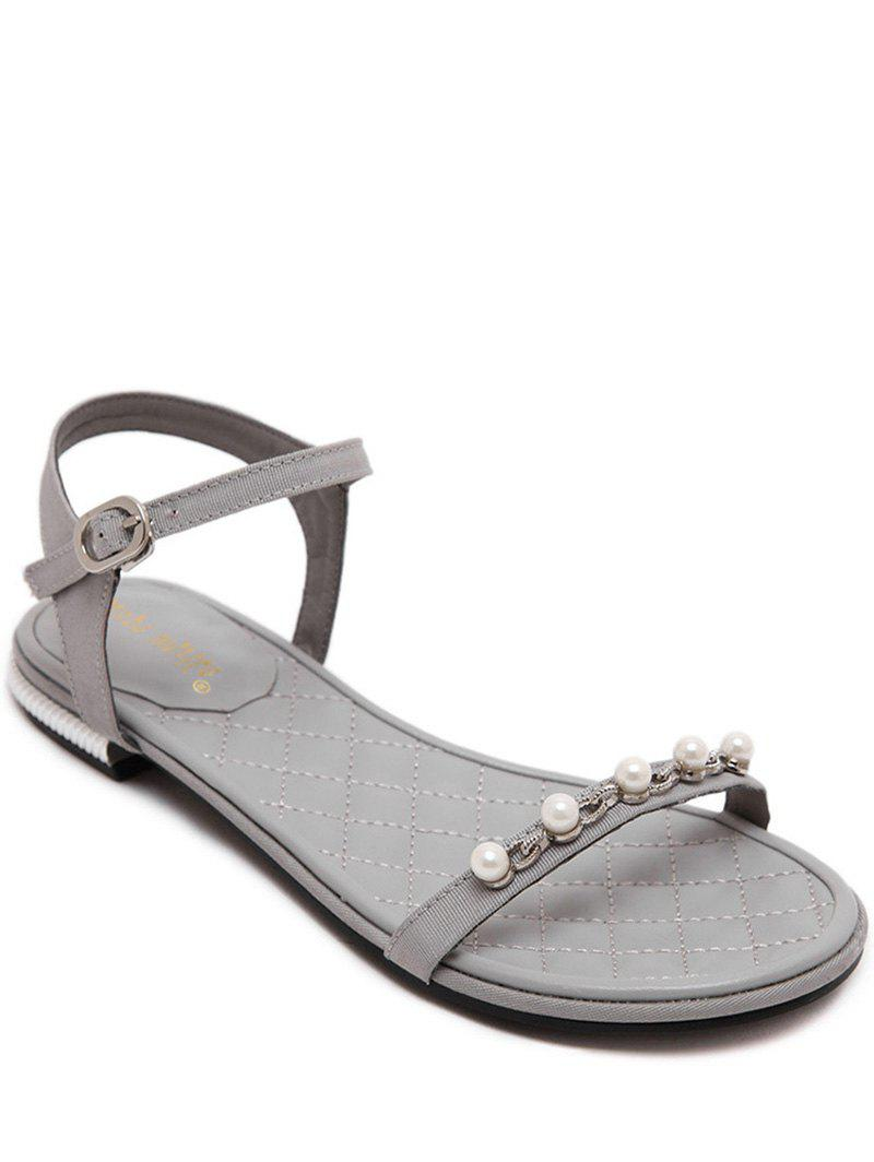 Concise Flat Heel and Beading Design Women's Sandals - GRAY 38