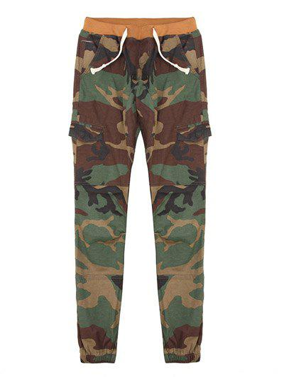 Plus Size Lace-Up Camouflage Pattern Beam Feet Jogger Men's Pants - GREEN 38