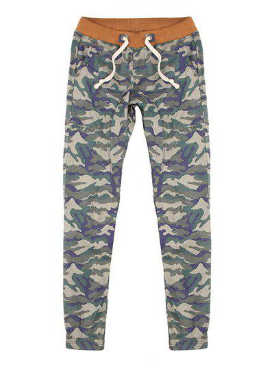 Plus Size Lace-Up Camouflage Beam Feet Jogger Men's Pants - GRAY 38