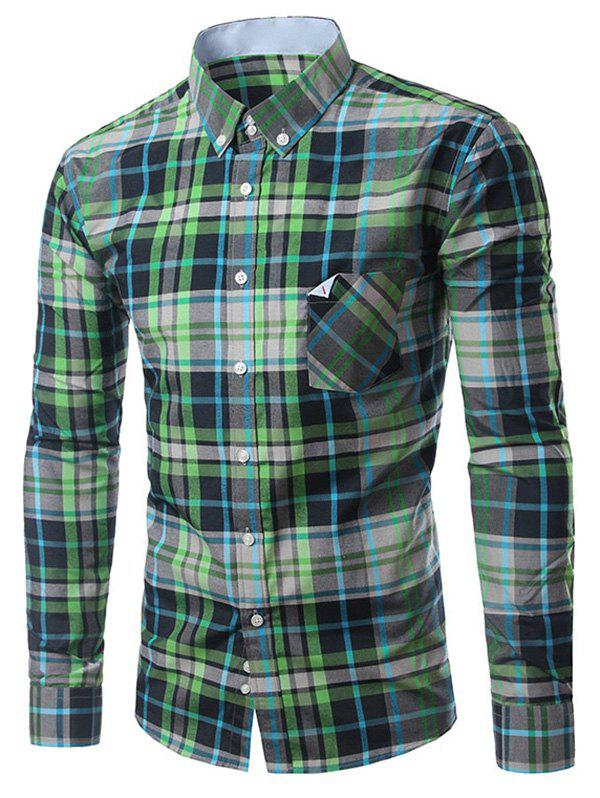 Chic Folded Pocket Long Sleeves Deep Green Tartan Shirt For Men - GREEN 3XL