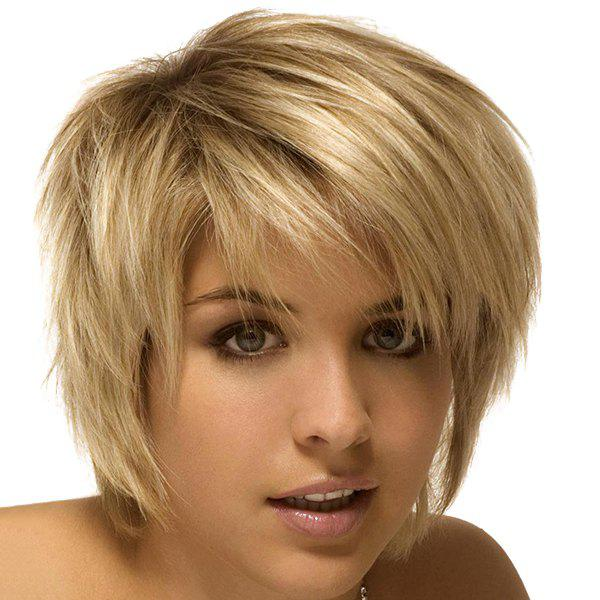 Graceful Short Fluffy Side Bang Straight Mixed Color Synthetic Hair Wig For Women