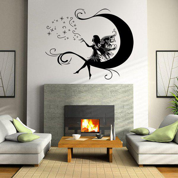 High Quality Cartoon Moon and Flower Faerie Pattern DIY Wall Sticker - BLACK