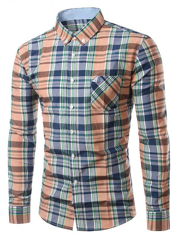 Chic Folded Pocket Long Sleeves Orange and Blue Tartan Shirt For Men - BLUE/ORANGE 3XL