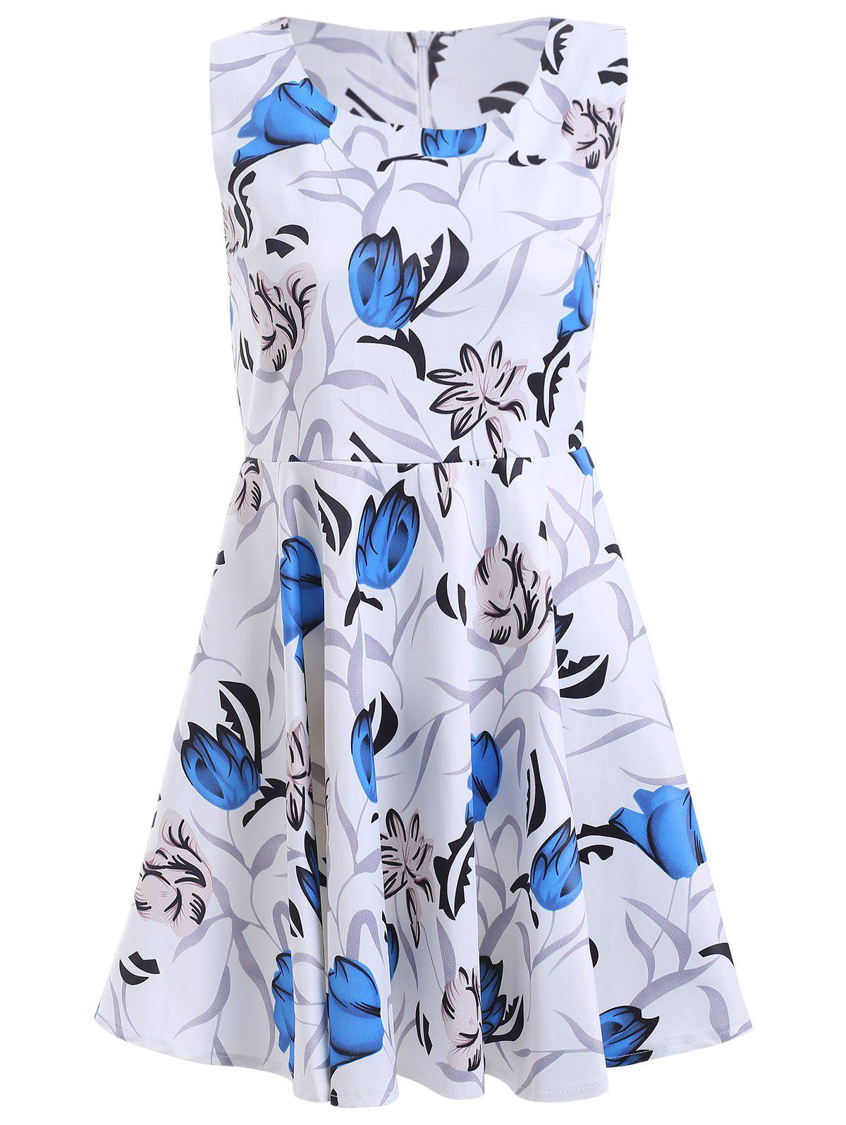 Sweet High Waist Floral Print Dress - BLUE XL