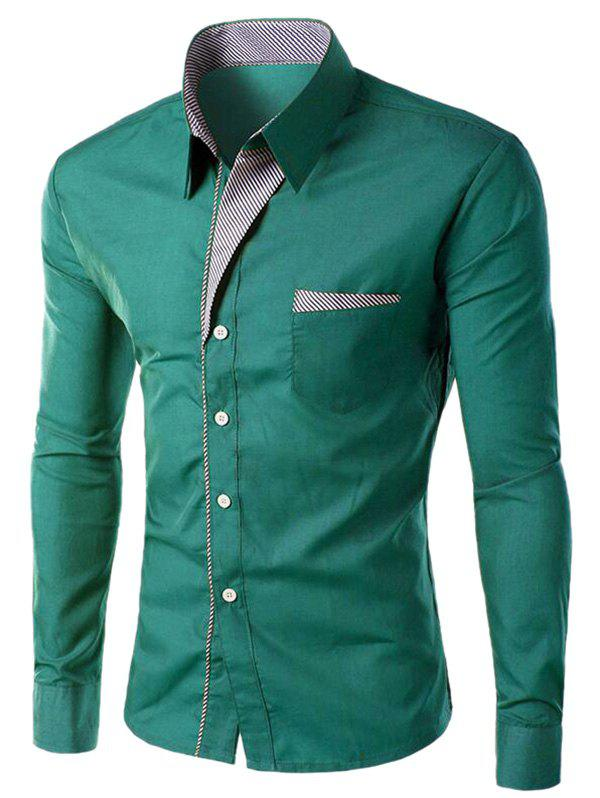 Stripe Panel Edging Pocket Long Sleeve Shirt - GREEN 4XL