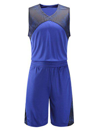 Printed Spliced V-Neck Sleeveless Sport Suit ( Tank Top + Shorts ) - BLUE 4XL