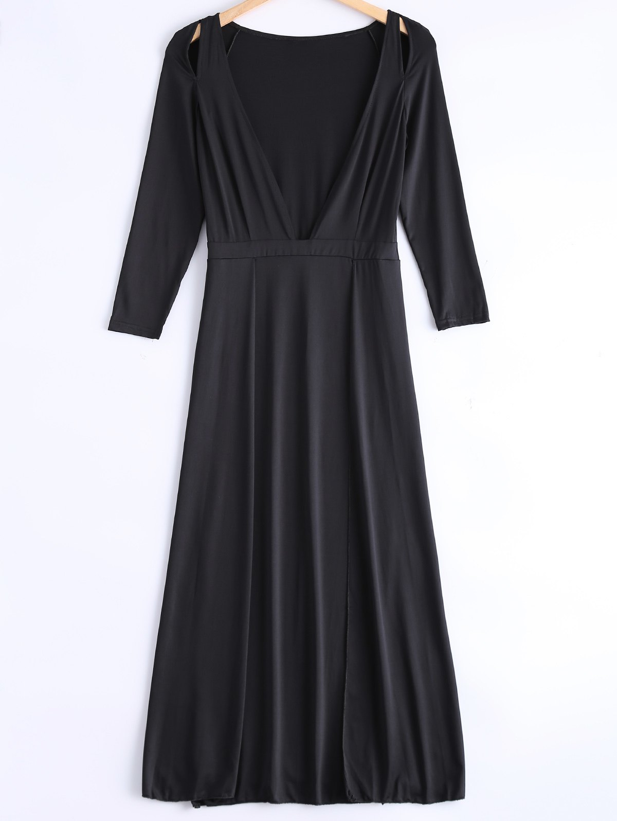 Cute Plunging Neck Long Sleeve Dress - BLACK XL
