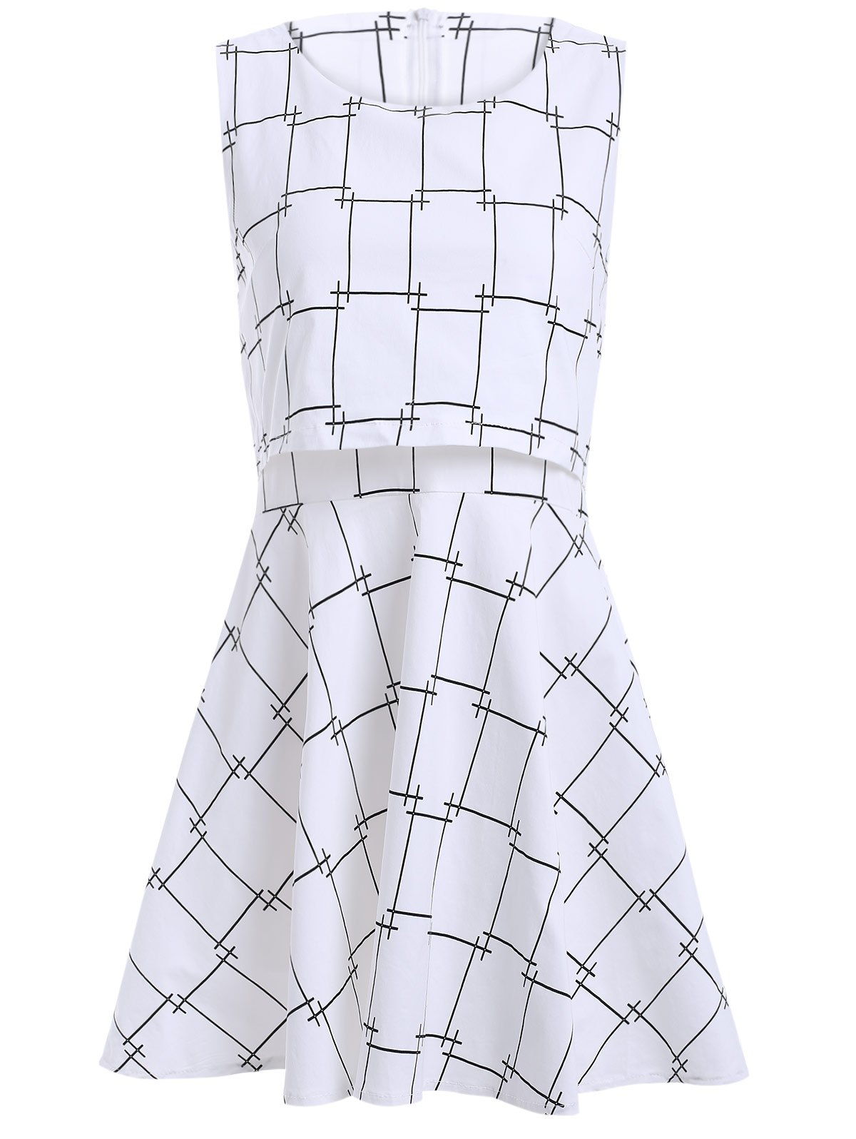 False Two Pieces Plaid Pattern Mini Dress - WHITE XL