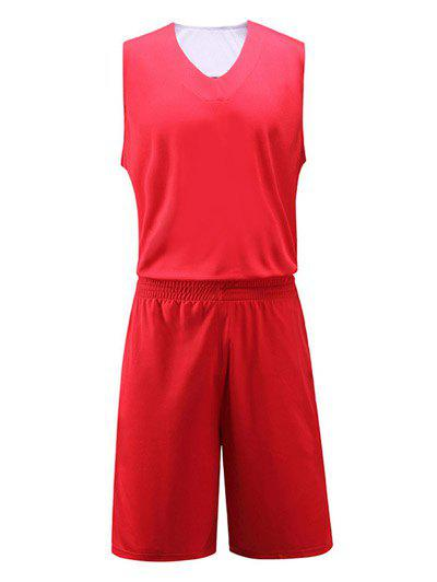 Color Block Spliced Geometric Print V-Neck Sleeveless Sport Suit ( Tank Top + Shorts ) - RED 5XL