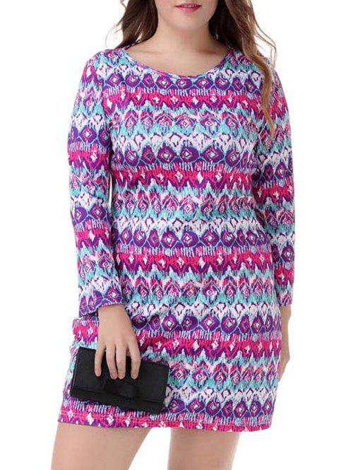 Plus Size Ethnic Long Sleeve Dress