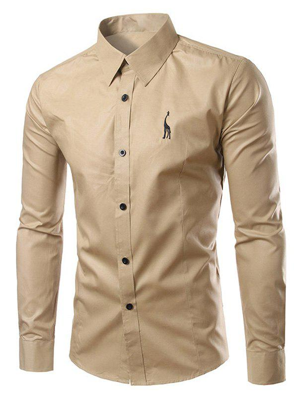 Brief Turn-Down Collar Slim Fit Long Sleeve Shirt For Men - KHAKI 3XL