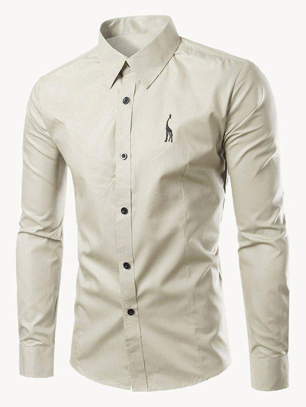 Brief Turn-Down Collar Slim Fit Long Sleeve Shirt For Men - BEIGE XL