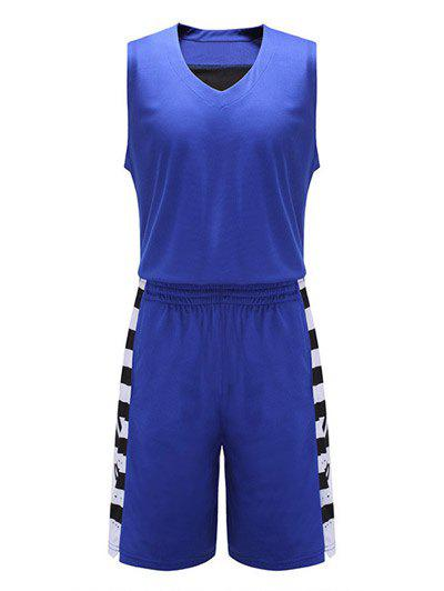 Geometric Print V-Neck Sleeveless Sport Suit ( Tank Top + Shorts ) - BLUE 5XL