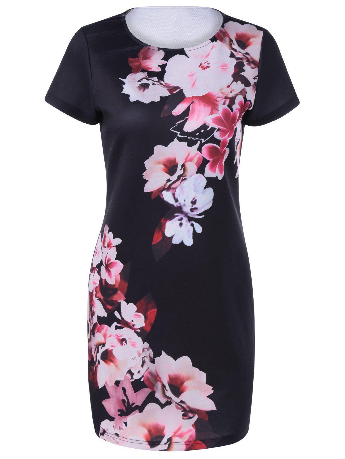 Fashionable Womens Round Collar Short Sleeves Printing DressWomen<br><br><br>Size: S<br>Color: BLACK