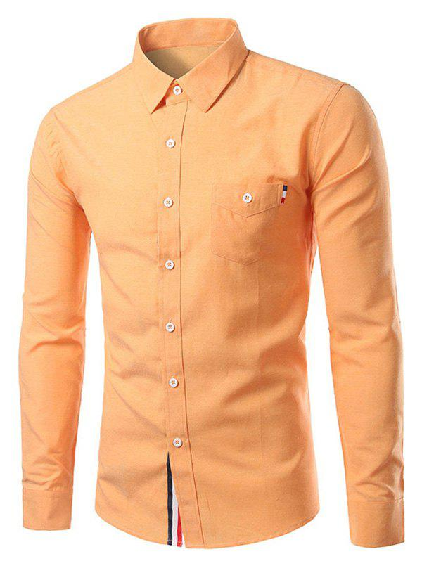 Pure Color Turn-Down Collar Long Sleeve Shirt For Men - SWEET ORANGE 3XL