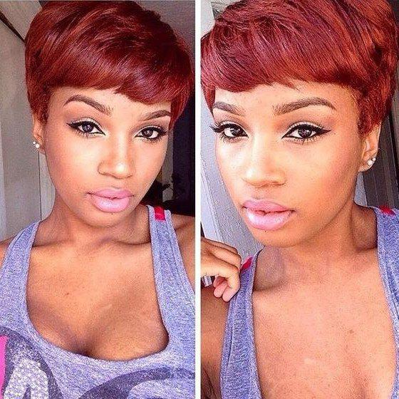 Stunning Short Fluffy Side Bang Straight Wine Red Synthetic Hair Wig For Women