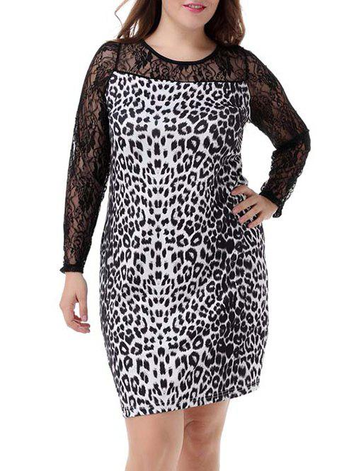 Plus Size Sophisticated Leopard Long Sleeve Sheath Dress - WHITE/BLACK 4XL