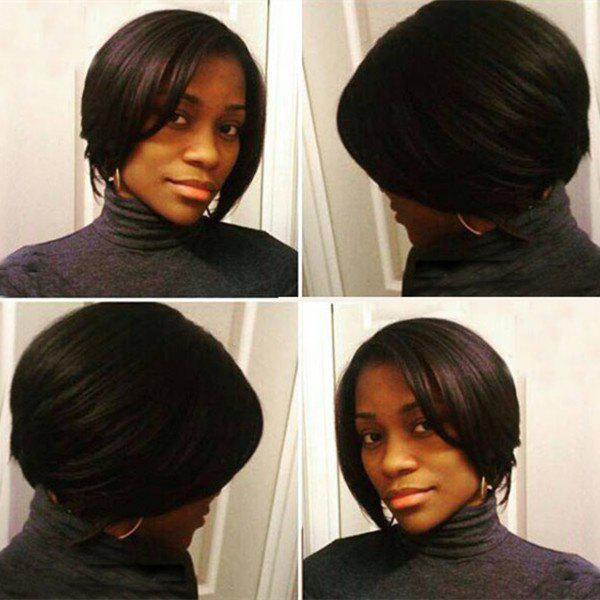 Vogue Short Side Parting Straight Dark Brown Synthetic Hair Wig For Women - BLACK BROWN