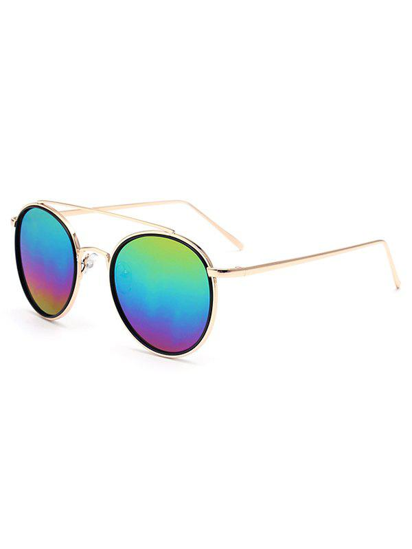 Stylish Crossbar Colorful Lens Sunglasses For Women - GOLDEN