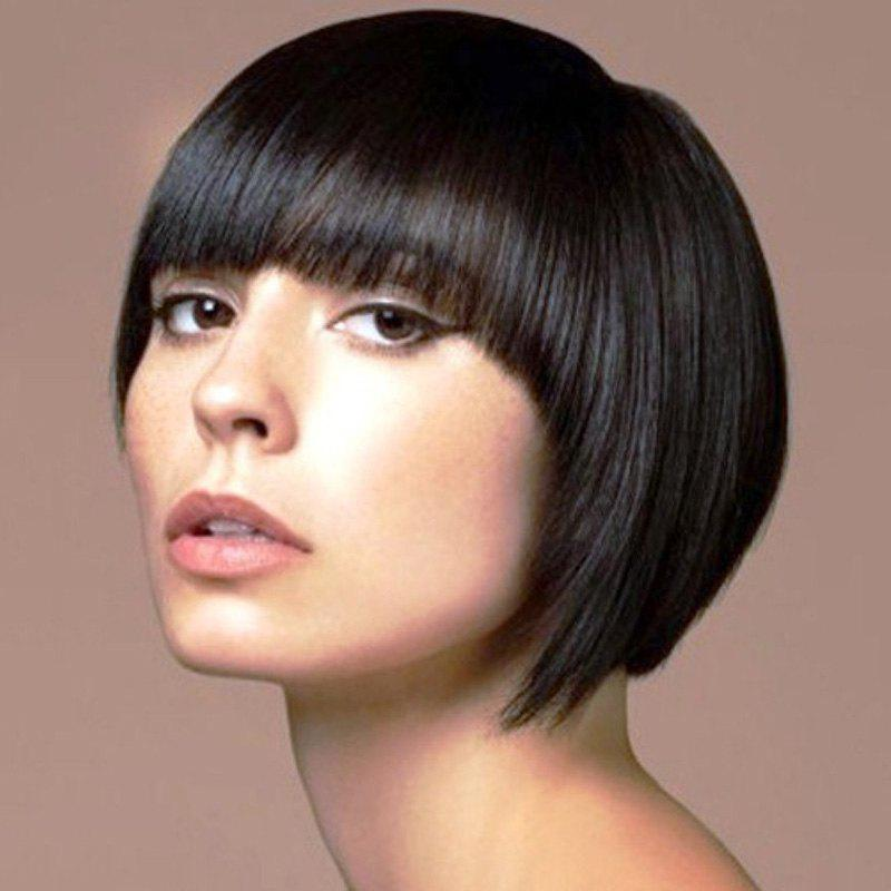 Graceful Short Full Bang Straight Deep Brown Synthetic Hair Wig For Women - BLACK