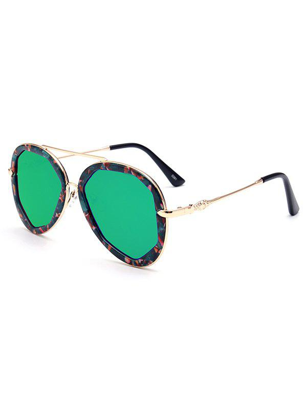 Stylish Crossbar Floral Pilot Mirrored Sunglasses For Women - GREEN