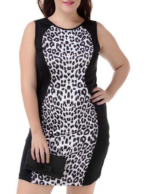 Plus Size Leopard Sleeveless Bodycon Dress - WHITE/BLACK 4XL
