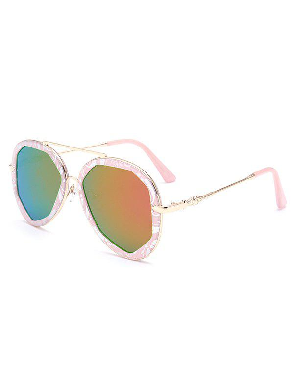 Stylish Crossbar Flecky Pilot Mirrored Sunglasses For Women - PINK