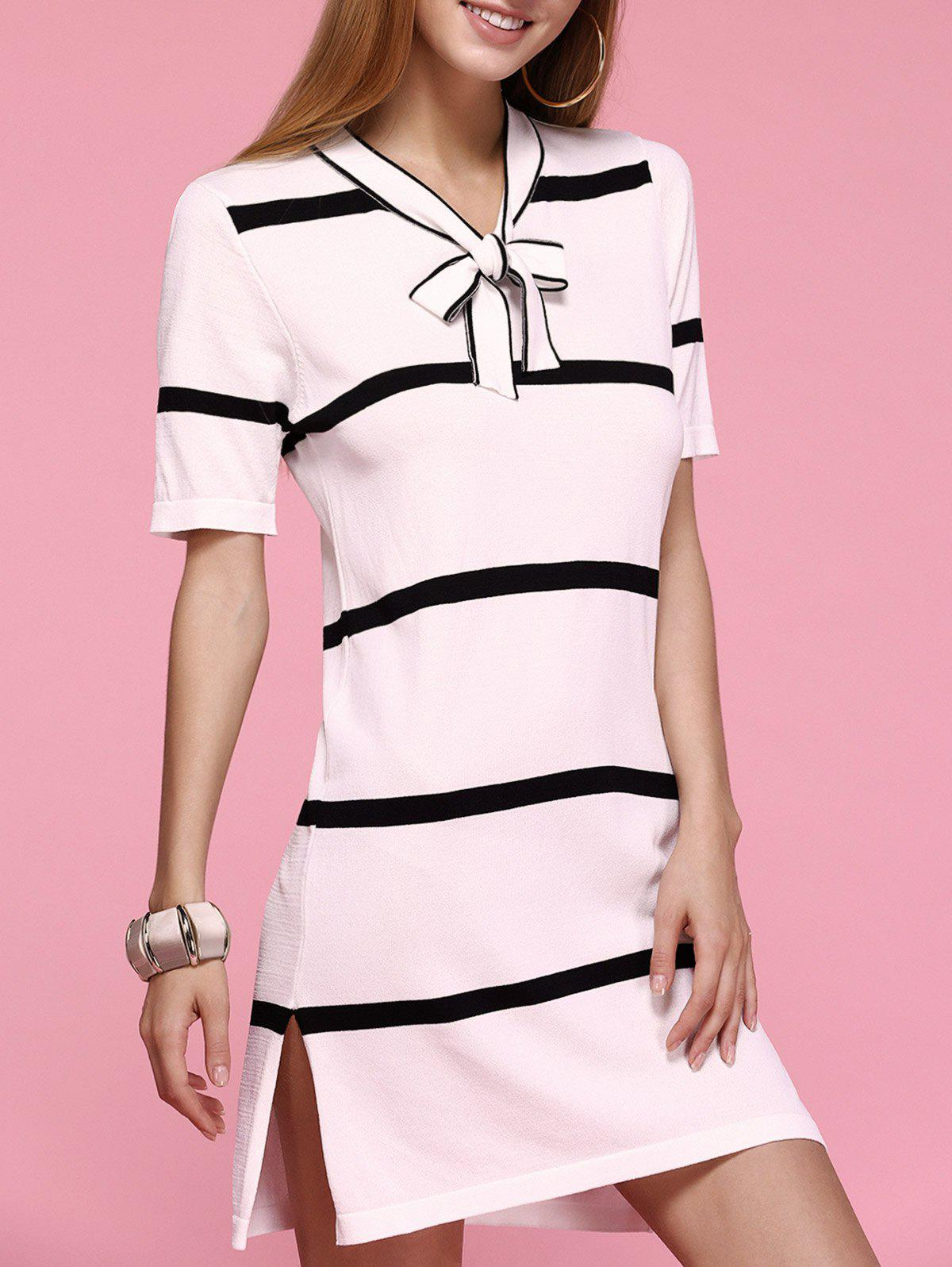 Sweet Womens Striped Bowknot Side Slit DressWomen<br><br><br>Size: ONE SIZE<br>Color: WHITE
