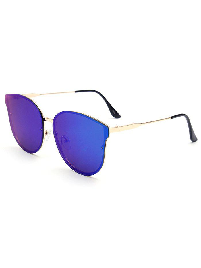Stylish Black Butterfly Mirrored Sunglasses For Women - BLUE