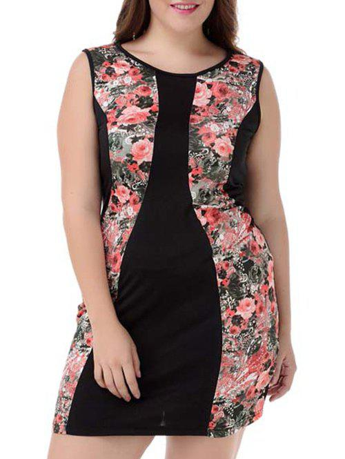 Plus Size Sleeveless Floral Dress - COLORMIX 4XL