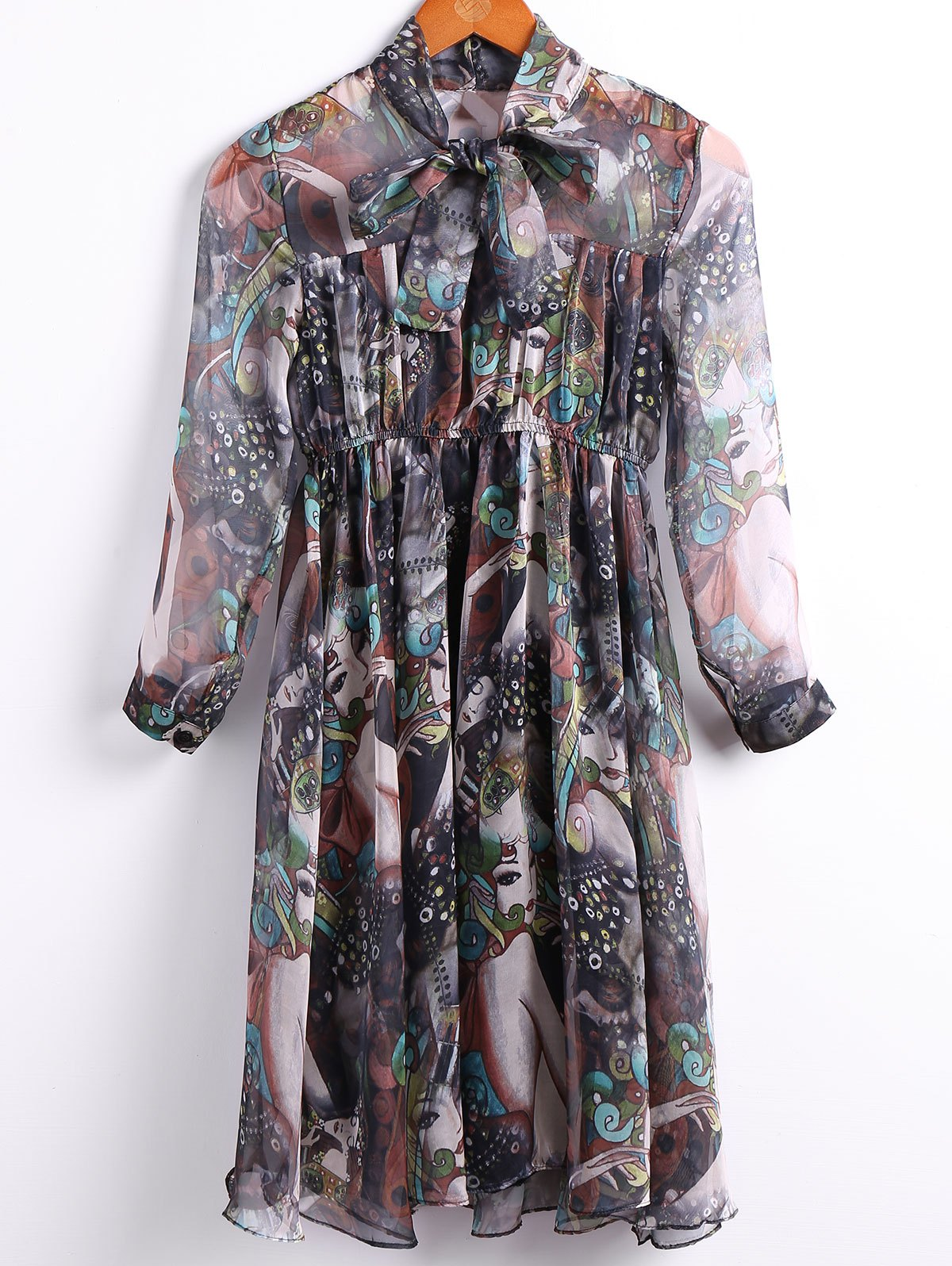 Vintage Bow Tied Collar 3/4 Sleeve Multicolor Print Chiffon Dress For Women - GREEN L
