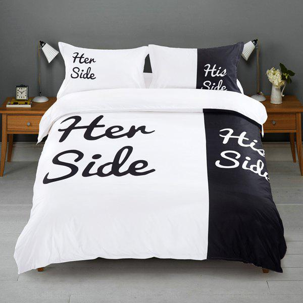 Soft Herside Hisside Couples Four Piece Suit Bedding - WHITE/BLACK FULL