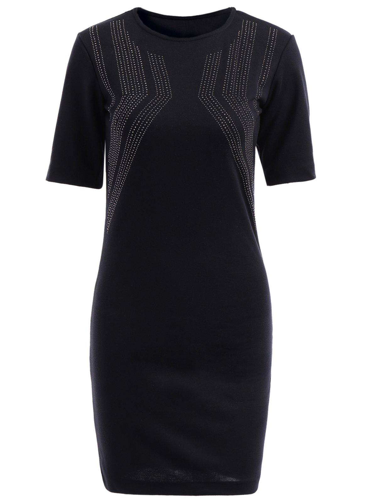 Elegant Black Round Collar Rhinestone Embellished Short Sleeve Dress For Women - BLACK M