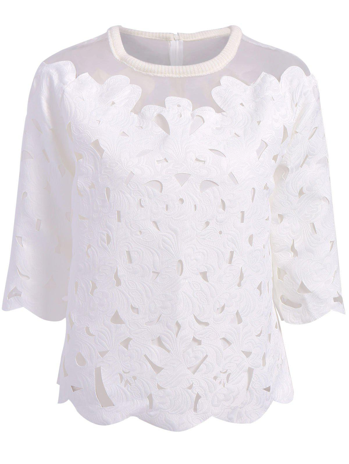 Sweet Organza Splicing Round Neck 3/4 Sleeve Blouse For Women - WHITE ONE SIZE(FIT SIZE XS TO M)