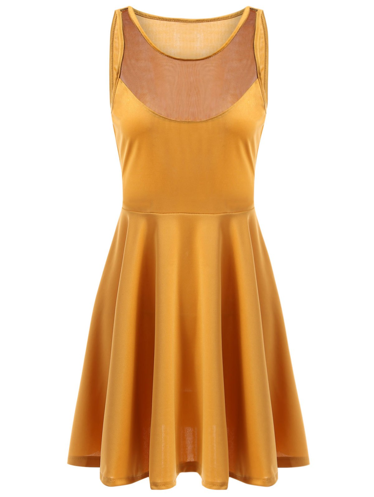 Casual Jewel Neck Sleeveless See-Through A-Line Women's Dress - YELLOW XL