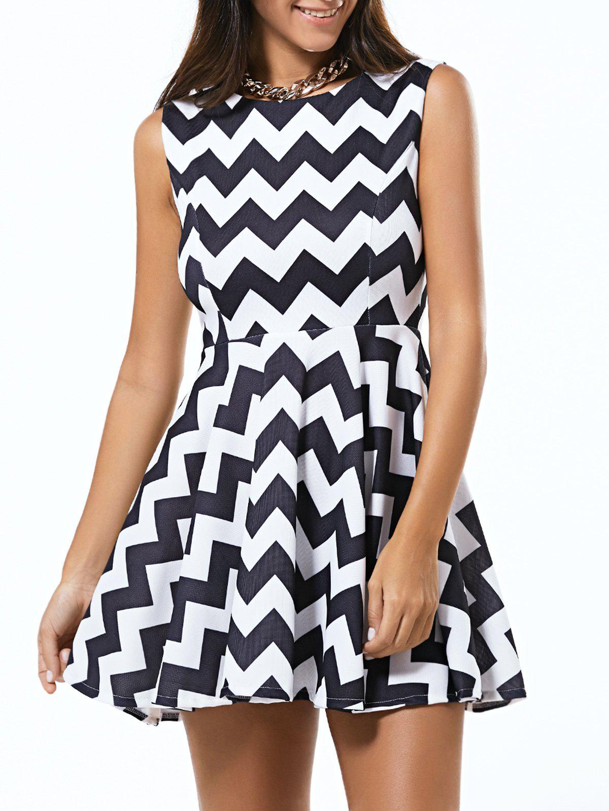 Zigzag Sleeveless Fit and Flare Dress