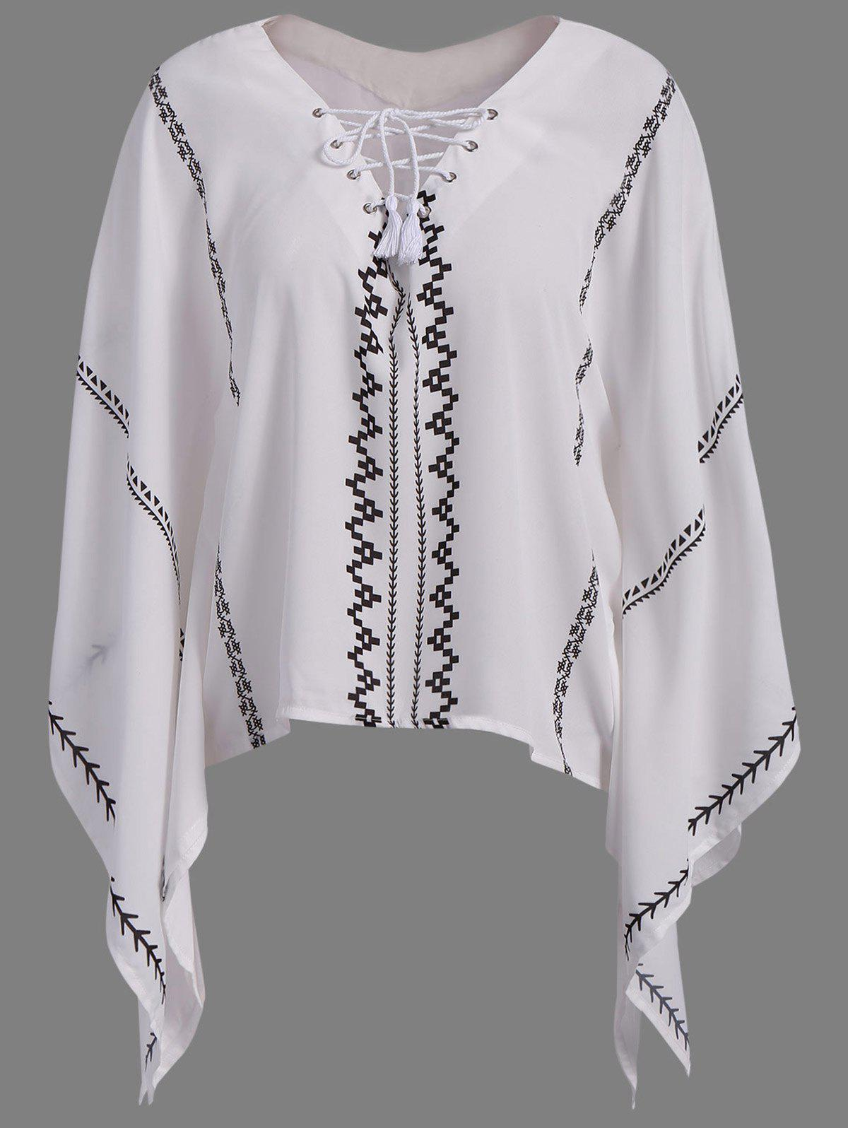 Retro Style V Neck Batwing Sleeve Asymmetrical Chiffon Lace-Up Women's Blouse - WHITE S