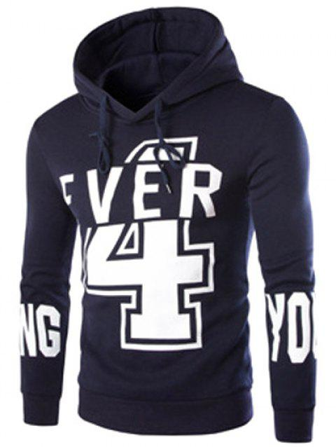 Preppy Drawstring Hooded Letters Number Print Solid Color Long Sleeves Men's Fitted Hoodie - CADETBLUE 2XL