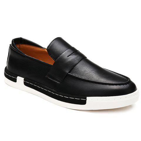 Trendy Solid Color and PU Leather Design Men's Casual Shoes - BLACK 40