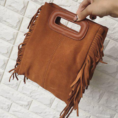 Retro Suede and Fringe Design Women's Crossbody Bag - BROWN