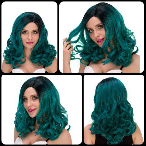 Attractive Women's Medium Wavy Side Parting Black Mixed Dark Green Cosplay Lolita Synthetic Wig - COLORMIX