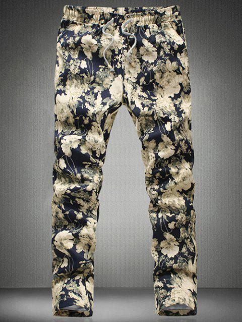 Stylish Floral Printed Drawstring Waistband Casual Pants For Men - DEEP BLUE 4XL