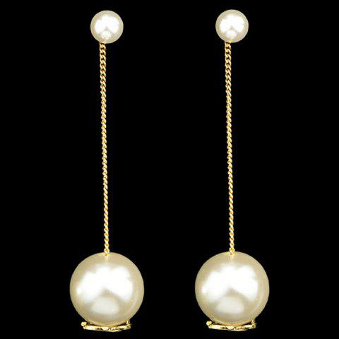 Pair of Alloy Faux Pearl Dual Earrings - GOLDEN