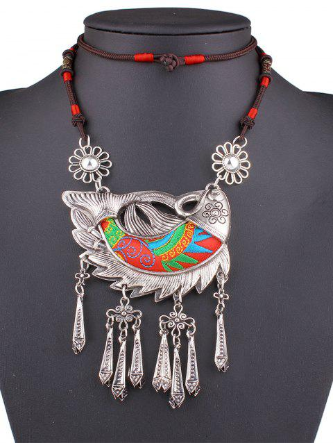 Stylish Lucky Carp Embroidery Necklace - RED