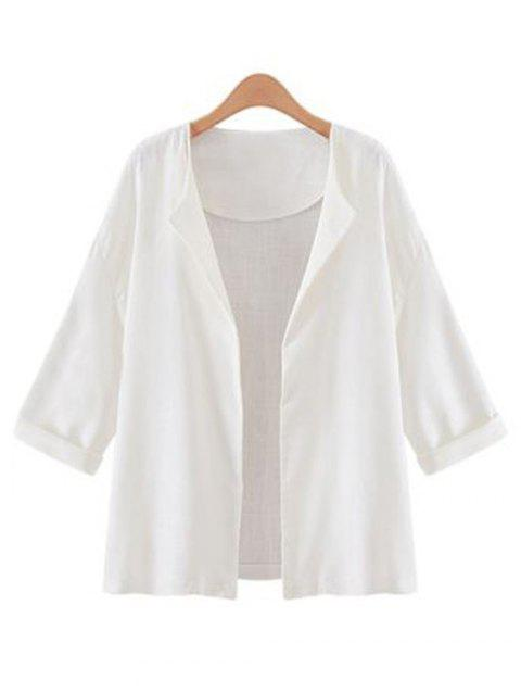 Collarless Open Front Jacket - WHITE S
