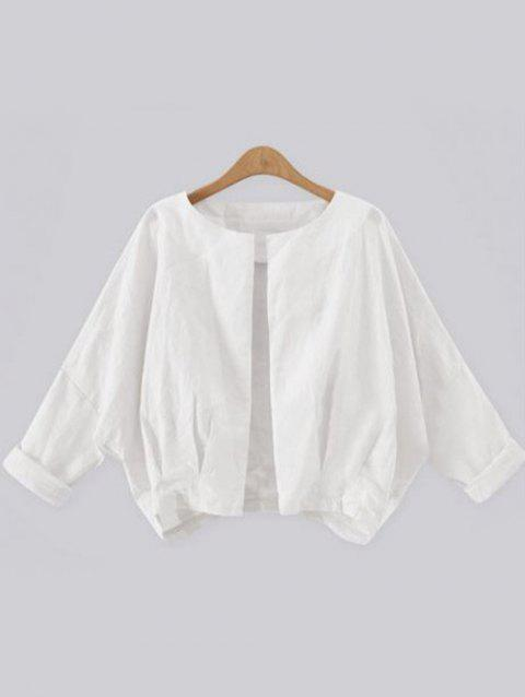 Open Front Batwing Sleeve Cropped Jacket - WHITE XL