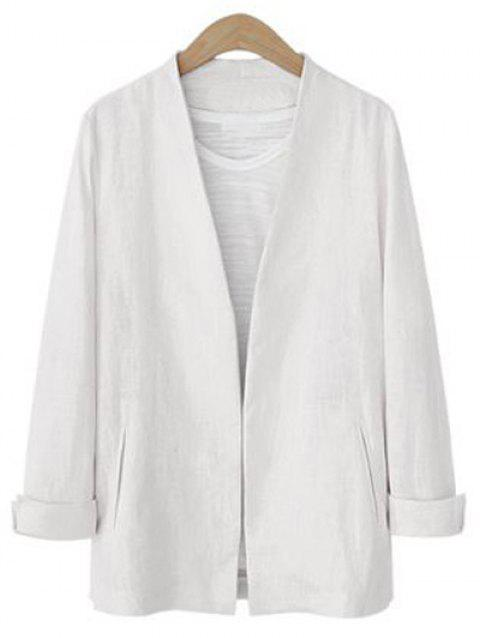 Open Front Collarless Jacket - WHITE S