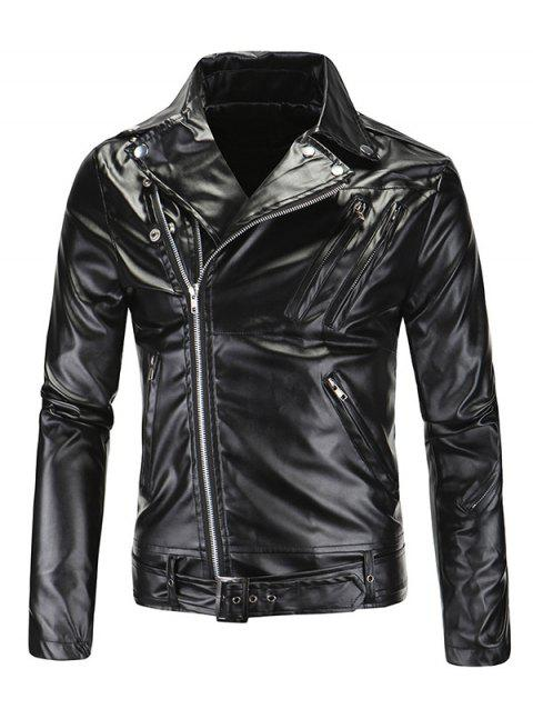 Fashionable Diagonal Zipper Opening Long Sleeves Leather Jacket For Men - BLACK 2XL